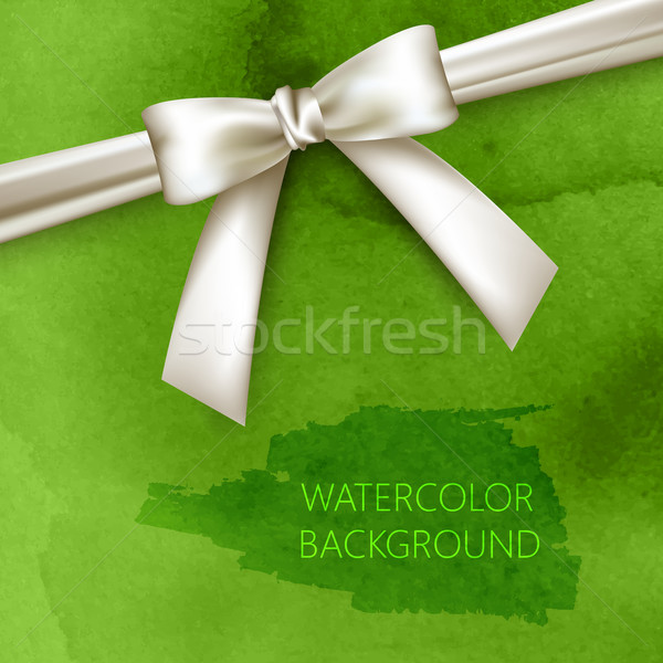 Stock photo: vector abstract green watercolor background with white bow and ribbon
