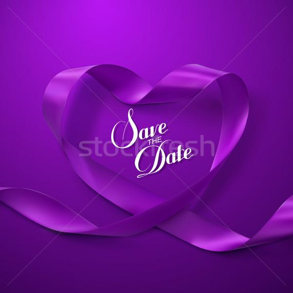 Save the Date. Purple Ribbon Heart. Stock photo © maximmmmum
