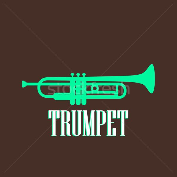 Bağbozumu örnek trompet müzik dizayn imzalamak Stok fotoğraf © maximmmmum