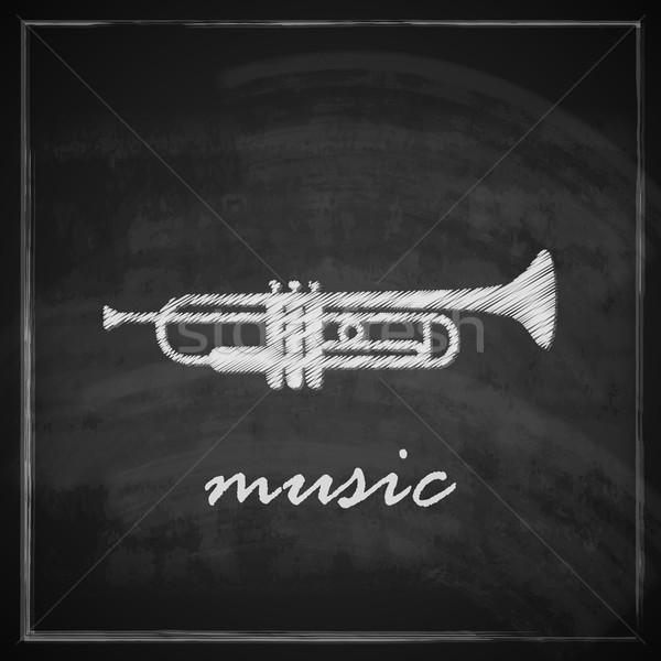 Vintage ilustração trombeta lousa música projeto Foto stock © maximmmmum