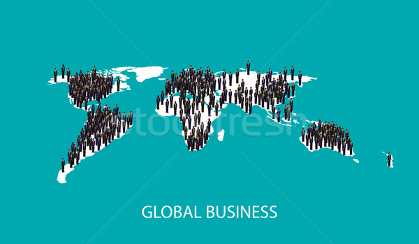 vector 3d isometric illustration of business people standing on the world global map shape. infograp Stock photo © maximmmmum