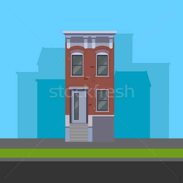 vector illustration of townhouse in flat polygonal style Stock photo © maximmmmum
