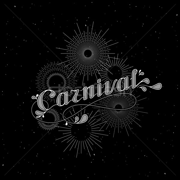 vector typographical illustration with ornate word carnival and light rays, starburst or fireworks o Stock photo © maximmmmum