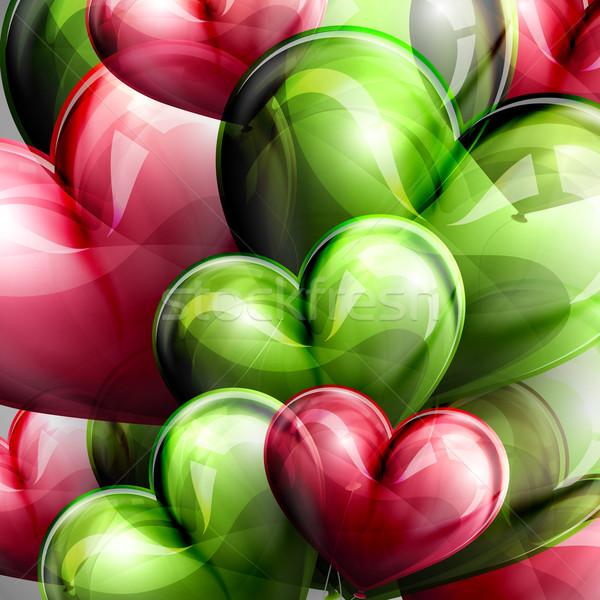 Vektör tatil örnek uçan balon kalpler Stok fotoğraf © maximmmmum