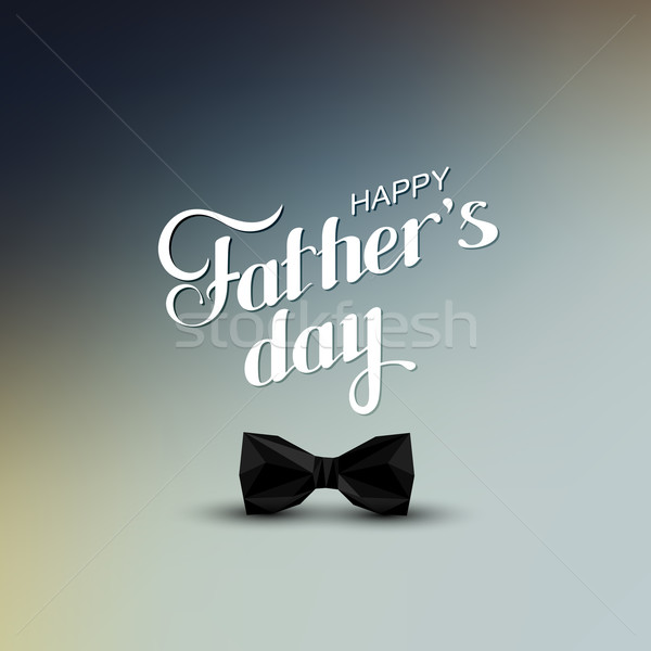 Stock photo: Happy Fathers Day retro label with black bow tie