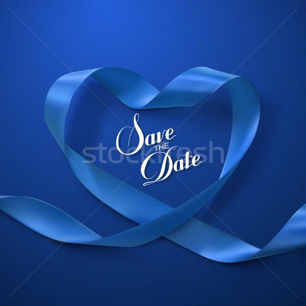 Save the Date. Blue Ribbon Heart. Stock photo © maximmmmum