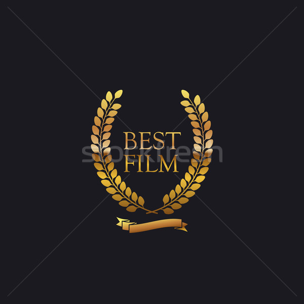 En iyi film ödül imzalamak altın çelenk Stok fotoğraf © maximmmmum