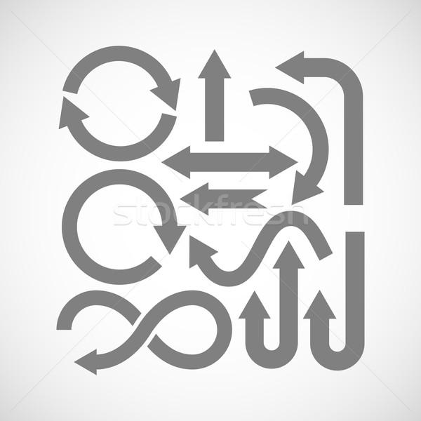 Conjunto seta ícones mão assinar Foto stock © maximmmmum