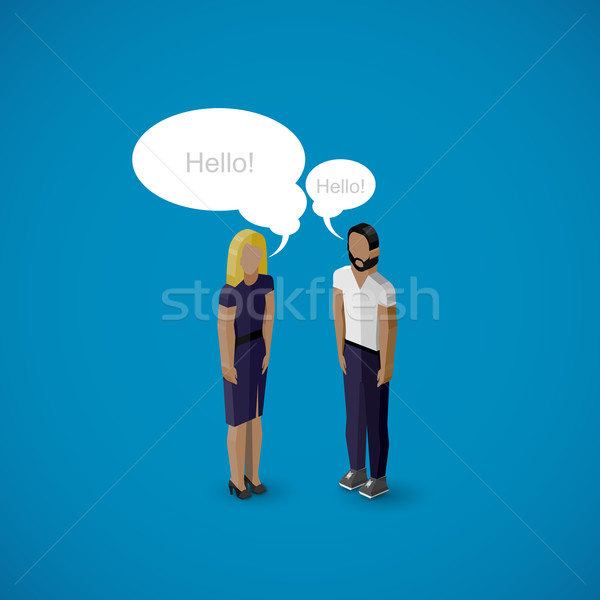 vector 3d isometric cartoon illustration of man and woman characters. business infographic or advert Stock photo © maximmmmum
