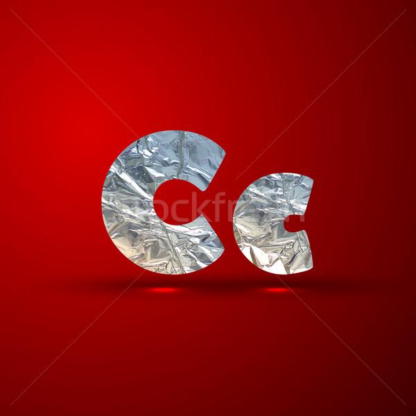 vector set of aluminum or silver foil letters. Letter C Stock photo © maximmmmum