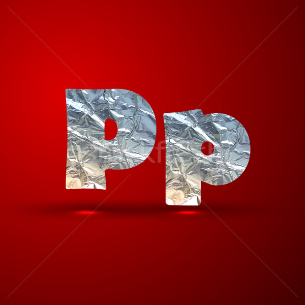 vector set of aluminum or silver foil letters. Letter P Stock photo © maximmmmum