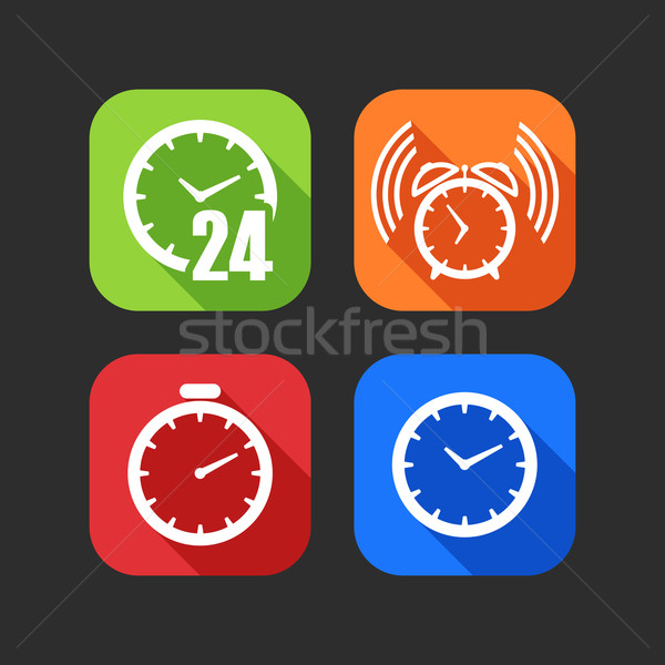 flat icons for web and mobile applications with clocks (flat design with long shadows)  Stock photo © maximmmmum