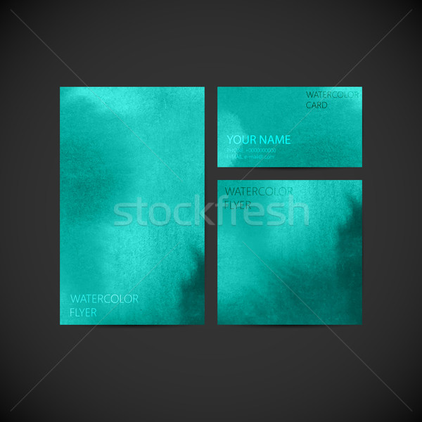 set of vector visual corporate identity with turquoise paint wat Stock photo © maximmmmum