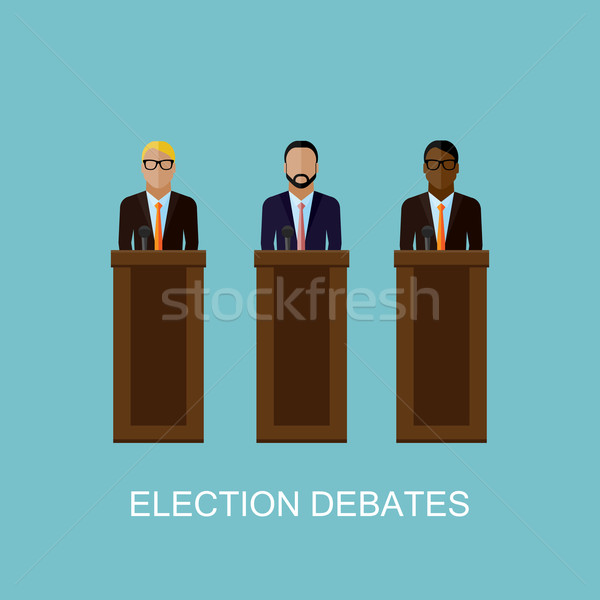 Illustratie sprekers verkiezing vector persconferentie business Stockfoto © maximmmmum