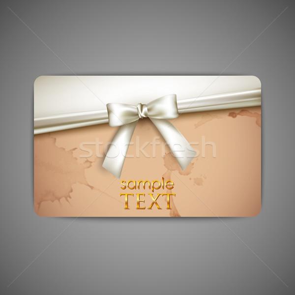Tarjeta de regalo blanco arco cinta boda feliz Foto stock © maximmmmum