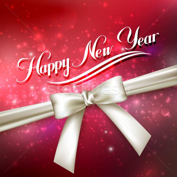 Feliz ano novo férias vermelho brilhante branco arco Foto stock © maximmmmum