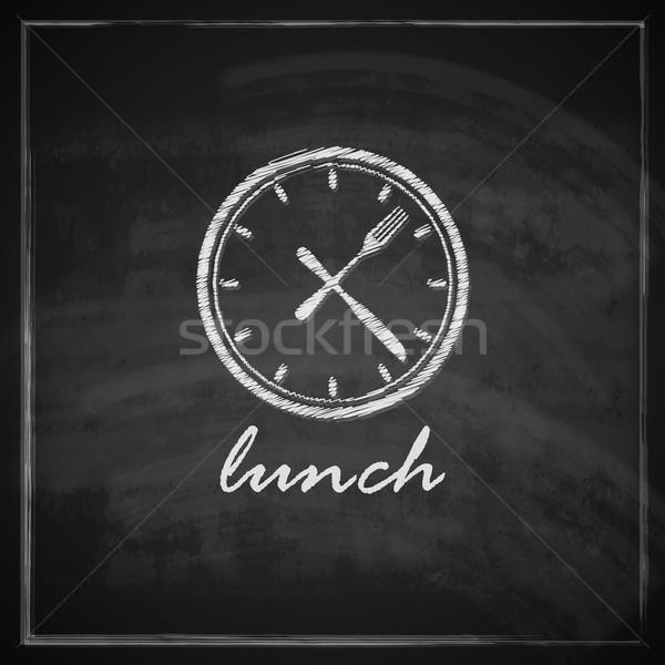 Vintage illustratie klok bestek Blackboard lunch Stockfoto © maximmmmum