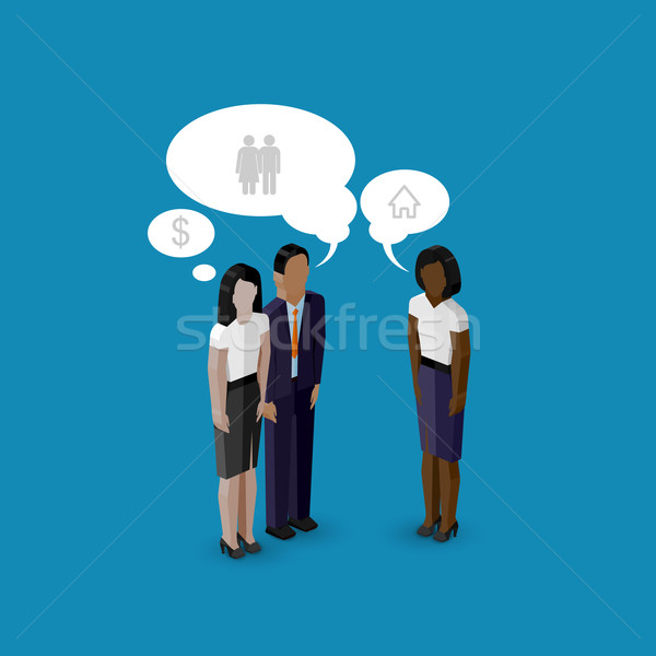 vector 3d isometric cartoon illustration of women and man characters. business real estate infograph Stock photo © maximmmmum