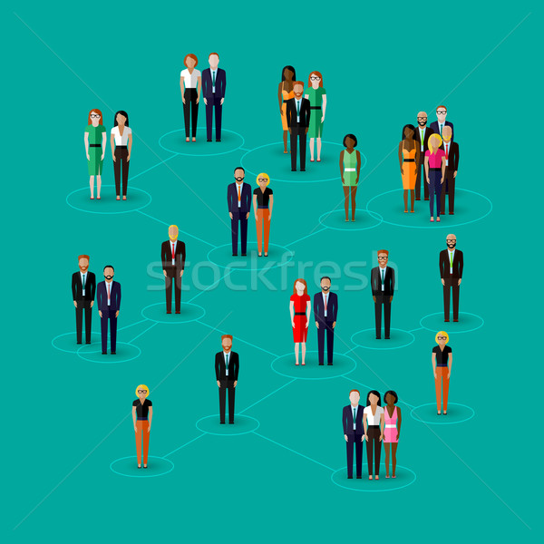 vector flat illustration of society members with  men and women. population. social network concept. Stock photo © maximmmmum