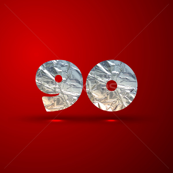 vector set of aluminum or silver foil numbers 9, 0 Stock photo © maximmmmum