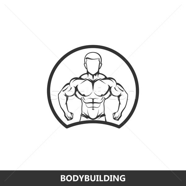 illustration of muscled man body silhouette. fitness logo Stock photo © maximmmmum