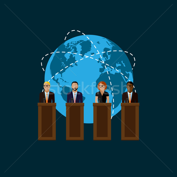 flat  illustration of a speakers. politicians. election debates Stock photo © maximmmmum