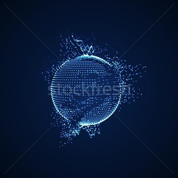 3D distorcida esfera partículas Foto stock © maximmmmum
