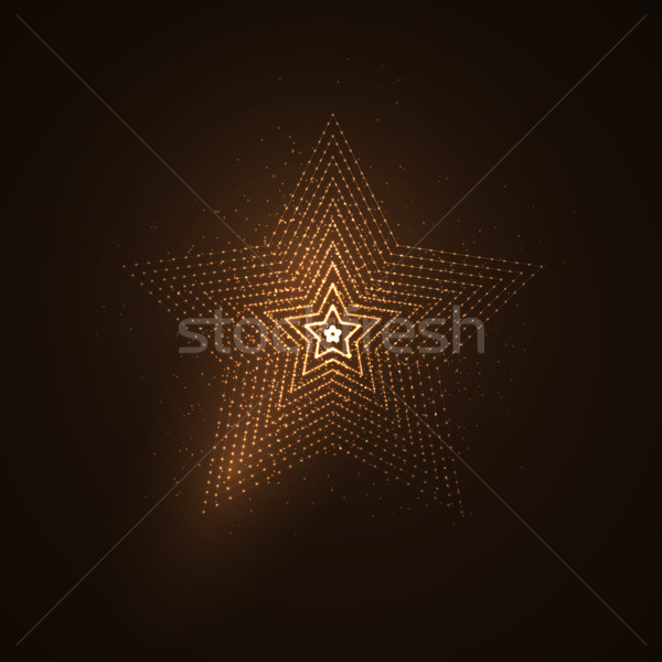 3D illuminated star shape of glowing particles Stock photo © maximmmmum