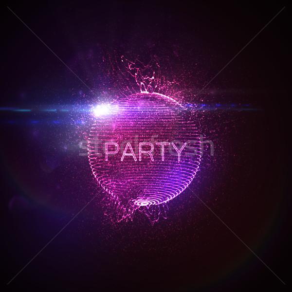 Stok fotoğraf: Parti · neon · 3D · bozuk · küre