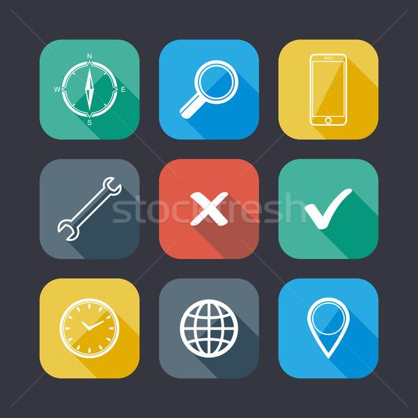 ストックフォト: セット · アプリケーション · webアイコン · デザイン · 長い · 影