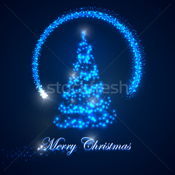 vector holiday illustration of  Christmas tree. shiny lights sparkles, and flying magic star. Merry  Stock photo © maximmmmum