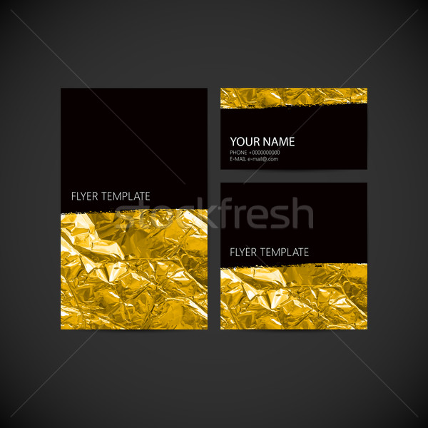 set of vector visual corporate identity with golden wrinkled foi Stock photo © maximmmmum