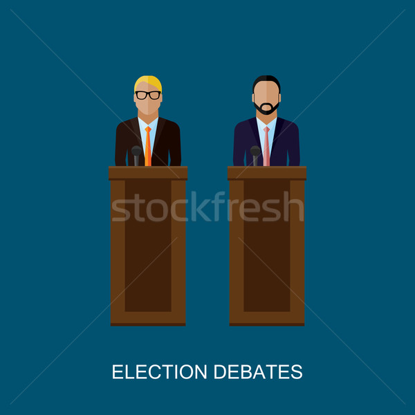 vector flat  illustration of a speakers. politicians. election debates Stock photo © maximmmmum