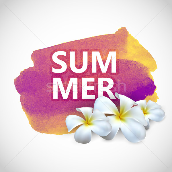 Summer label with frangipani flowers on watercolor stain  Stock photo © maximmmmum