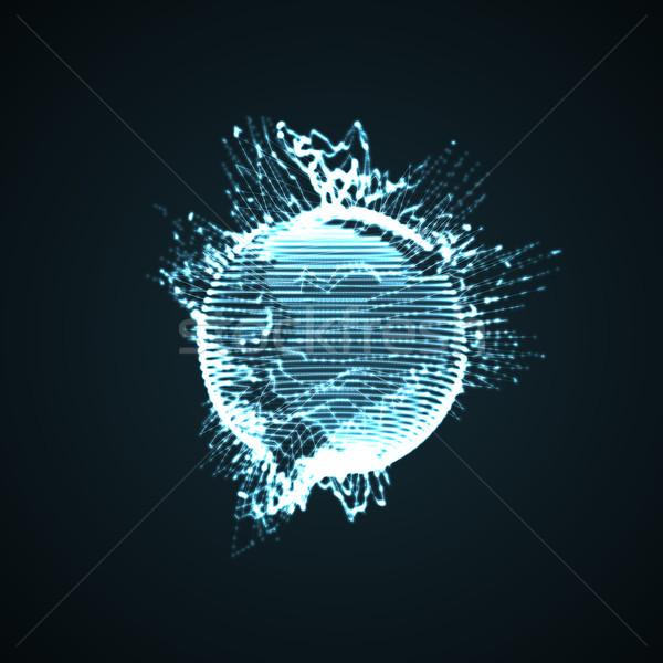 3D verlicht vervormd bol deeltjes Stockfoto © maximmmmum