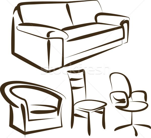мебель набор различный служба дома древесины Сток-фото © maximmmmum