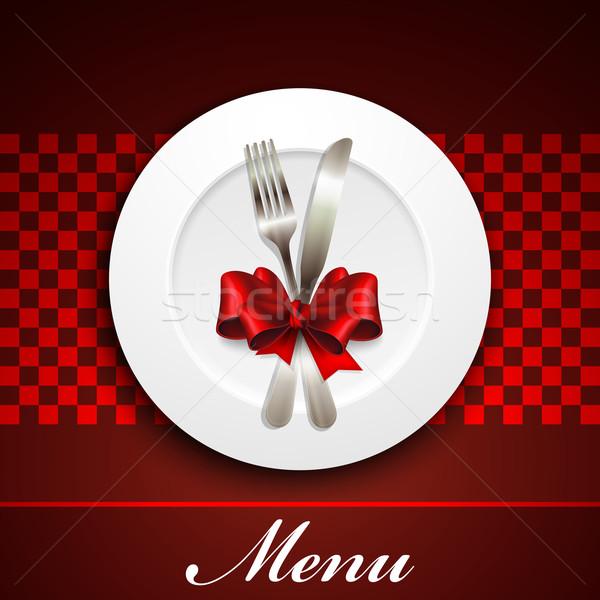 étterem menü terv tányér ezüst étkészlet étel Stock fotó © maximmmmum