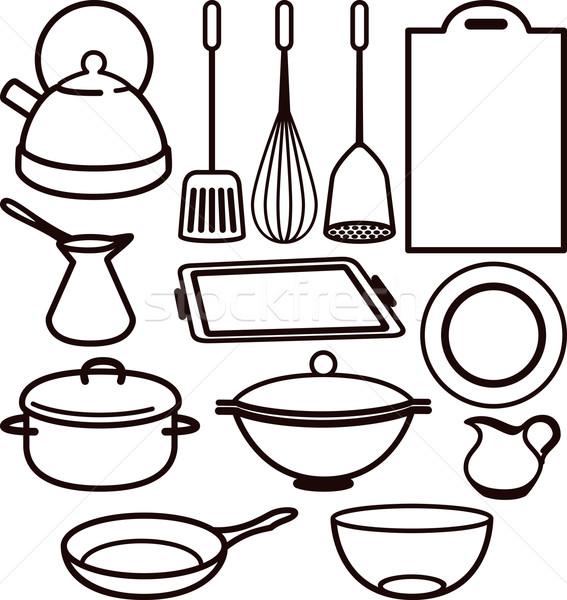 Illustration with a set of kitchen utensil Stock photo © maximmmmum
