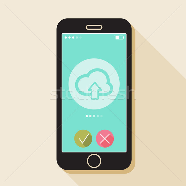 Illustration with a mobile phone. Gadget in flat style with a cloud sign and a long shadow  Stock photo © maximmmmum