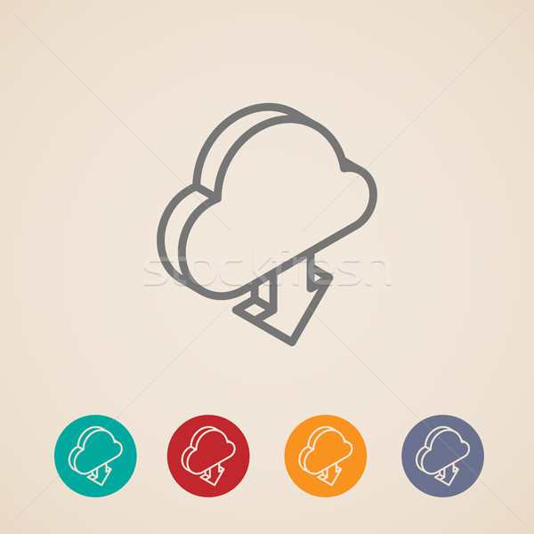 Wolke download arrow Vektor Symbole Stock foto © maximmmmum