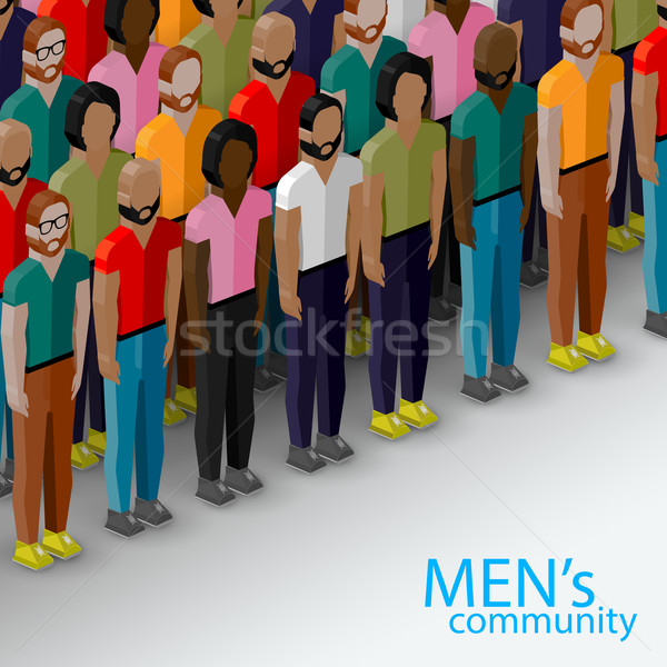 vector 3d isometric  illustration of male community with a large group of guys and men. urban lifest Stock photo © maximmmmum