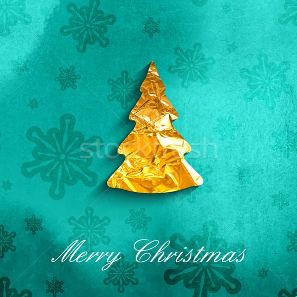 Stockfoto: Kerstmis · poster · gouden · christmas · kerstboom · symbool