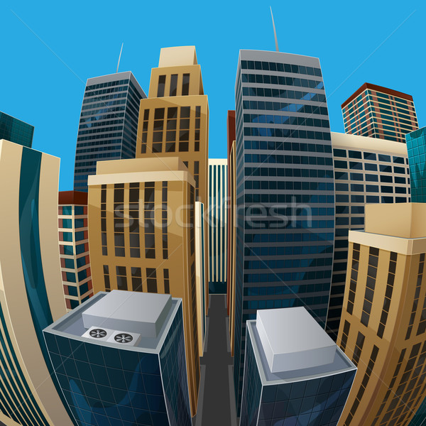 illustration of panoramic fisheye lens cityscape view. city Stock photo © maximmmmum