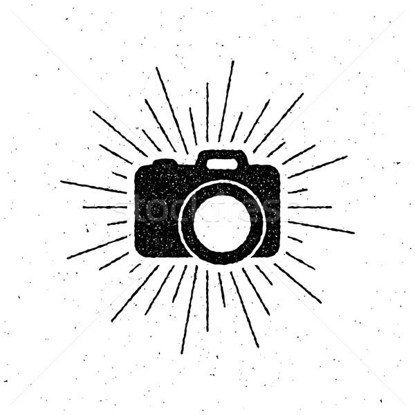 vintage camera label with light rays. Stock photo © maximmmmum