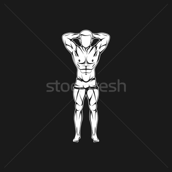 Man lichaam silhouet fitness bodybuilding logo Stockfoto © maximmmmum
