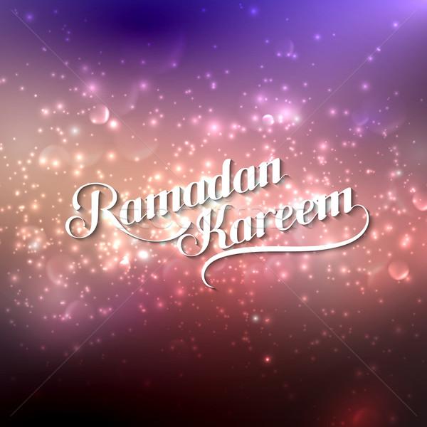 Stock fotó: Kézzel · írott · ramadán · retro · címke · fényes · vektor