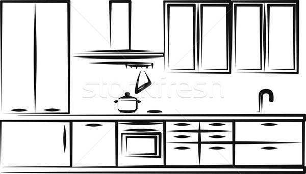 Cocina muebles simple ilustración marco grupo Foto stock © maximmmmum