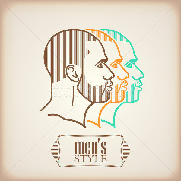 illustration with male faces Stock photo © maximmmmum