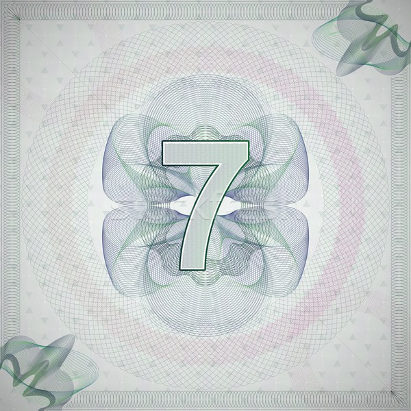 vector illustration of number 7 (seven) in guilloche ornate style. monetary banknote background Stock photo © maximmmmum