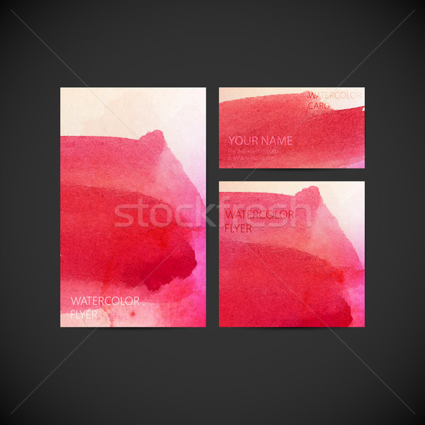 set of vector visual corporate identity with paint watercolor st Stock photo © maximmmmum